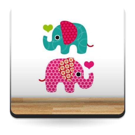 pegatina pared Elefantes Iris Composición