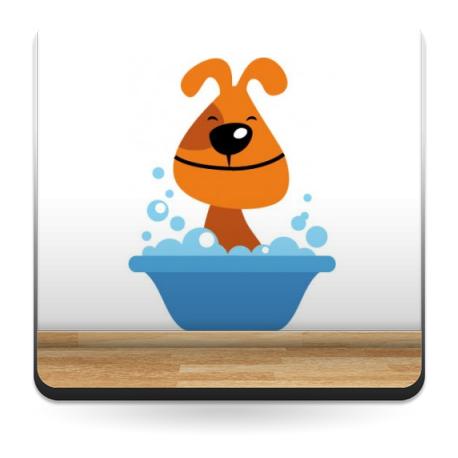 pegatina decorativa Perro Baño