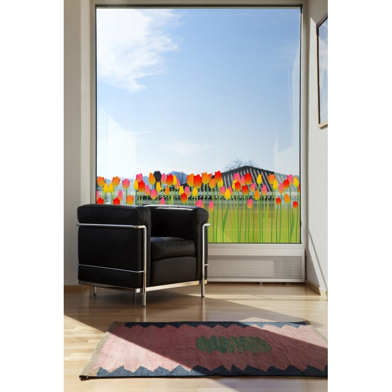 Vinilo tulipanes para cristal decoraci n - Cristales para paredes ...