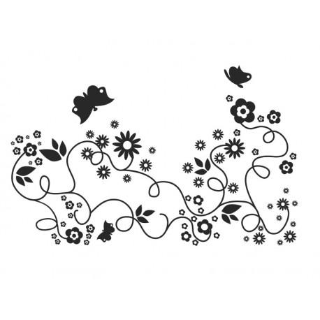 pegatina pared Flores Mariposas Motivo