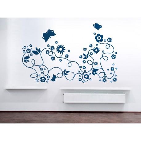 Flores Mariposas Motivo imagen vinilo decorativo