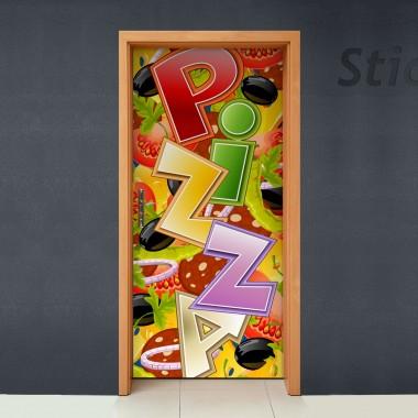 pegatina decorativa Puerta Pizzas