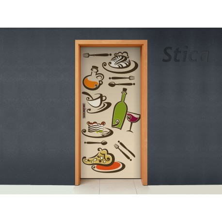 Puerta Comida imagen vinilo decorativo