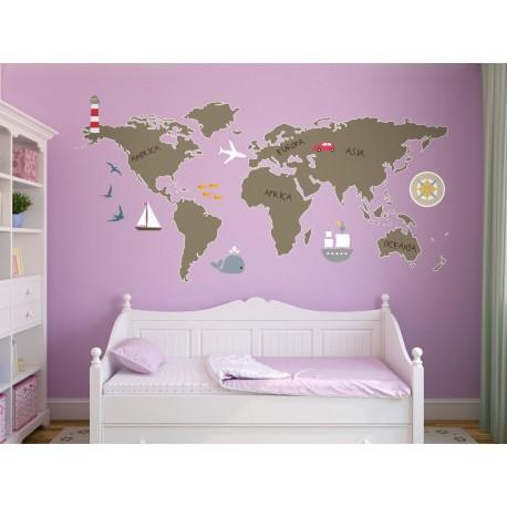 Mapa Mundi Preescolar decoración con vinilo