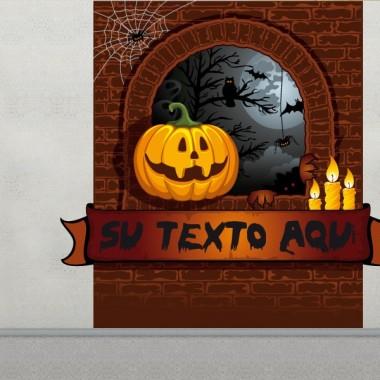pegatina pared Halloween Calabaza Paisaje