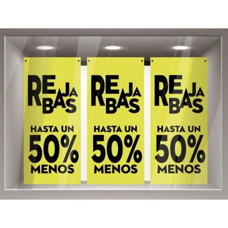Rebajas hasta un 50 % amarilla Lona adhesivo decorativo ambiente