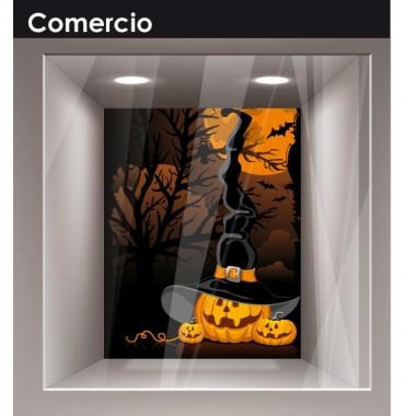 pegatina pared Halloween Calabaza Paisaje Bruja
