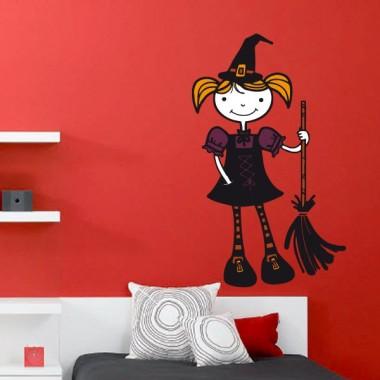 Halloween Brujita Escoba adhesivo decorativo ambiente