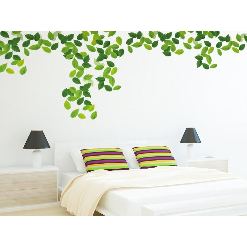 Vinilo hojas verdes for Vinilos para habitaciones de ninas