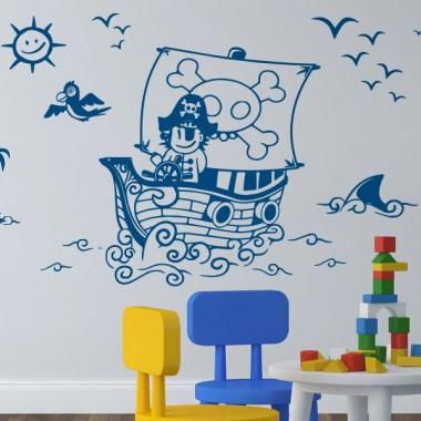 pegatina decorativa Piratas a Babor