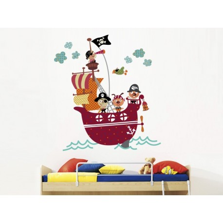pegatina pared Barco Pirata