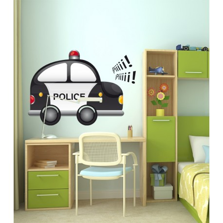 pegatina pared Coche Policia
