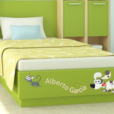 pegatina decorativa Nombre Perro Gato para Cabecero