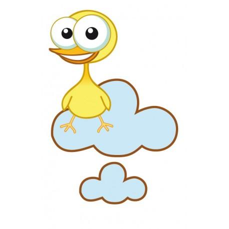 Pollito Amarillo en Nube decoración con vinilo