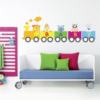 pegatina pared Animales Tren