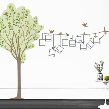 Árbol Pajaritos Fotos Composición adhesivo decorativo ambiente