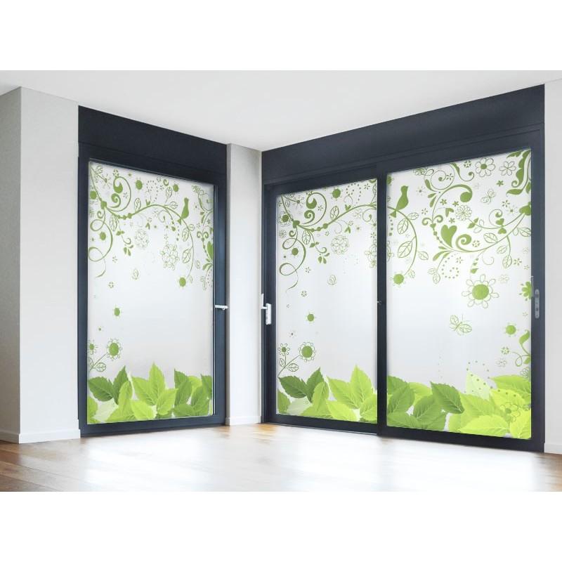 Vinilo al cido impreso floral verde - Cristales decorativos para puertas de interior ...