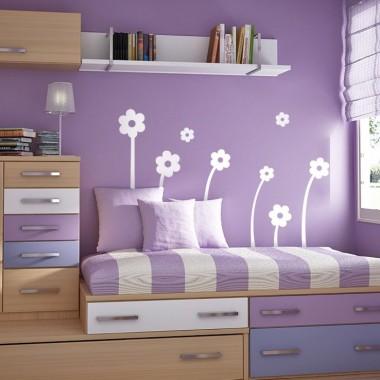 Flores Blancas Composición decoración con vinilo
