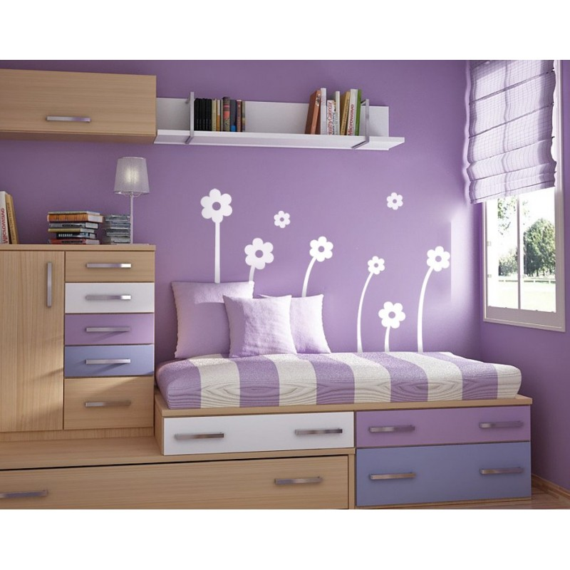 Vinilo flores blancas composici n for Vinilos decorativos dormitorios juveniles
