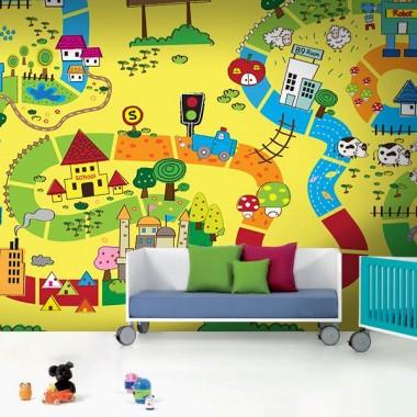 Fotomural Infantil Ciudad decoración con vinilo