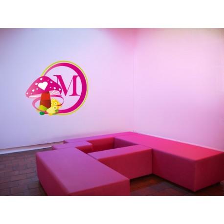 vinilo decorativo Marco Infantil Hongos Rosa