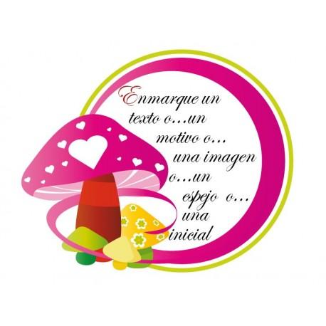 pegatina decorativa Marco Infantil Hongos Rosa