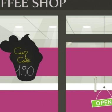 Pizarra Café Cup Cake imagen vinilo decorativo