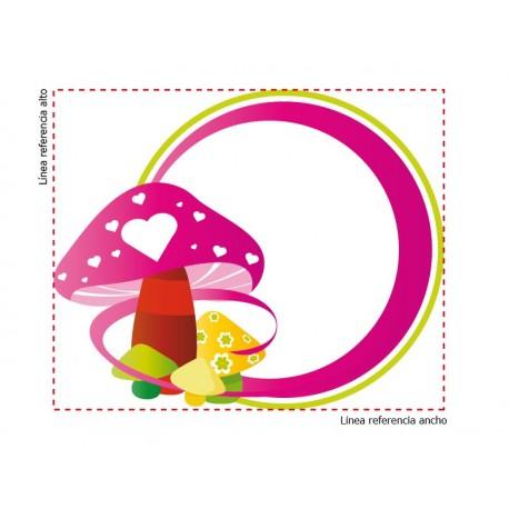vinilos imagen producto Marco Infantil Hongos Rosa