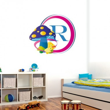 pegatina pared Marco Infantil Hongos Morado