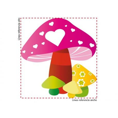 Vinilo Hongos corazón-vinilos-decorativos