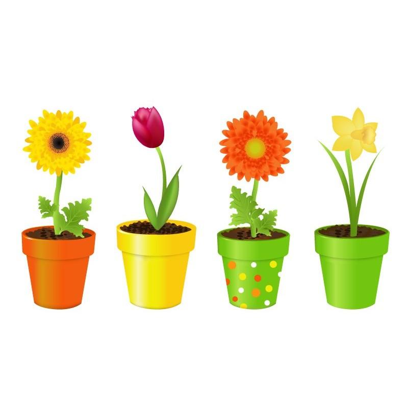 Vinilo flores macetas for Imagenes de plantas en macetas