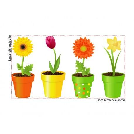 Flores Macetas imagen vinilo decorativo