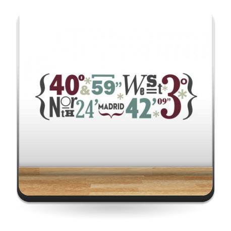 pegatina decorativa Madrid Coordenadas