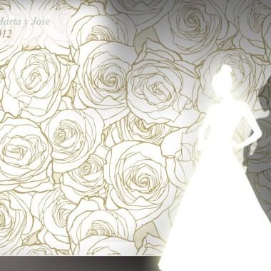Photocall Boda Rosas Blancas adhesivo decorativo ambiente