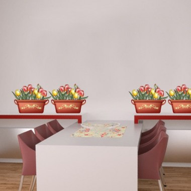 vinilos imagen producto Tulipanes Maceta
