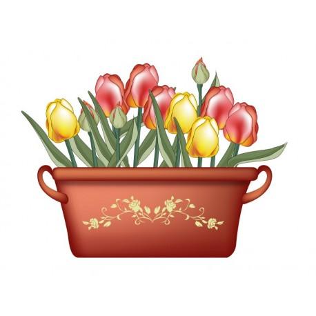 adhesivo decorativo Tulipanes Maceta