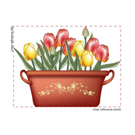 pegatina pared Tulipanes Maceta
