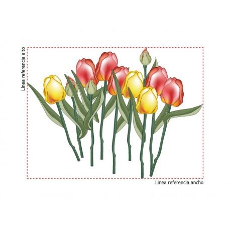 Tulipanes Cortados Ramo decoración con vinilo