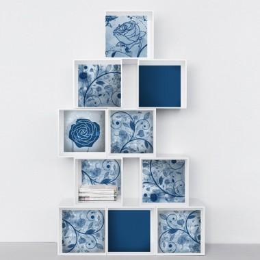 Floral Composición Azul adhesivo decorativo ambiente