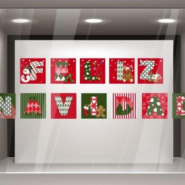 Vinilo Feliz Navidad Patchwork imagen vista previa