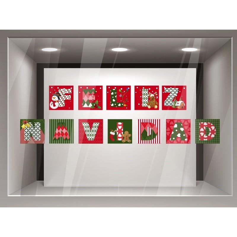 Vinilo feliz navidad patchwork for Vinilos pared navidad