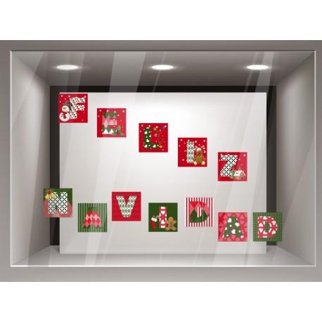 Vinilo Feliz Navidad Patchwork producto vinilos