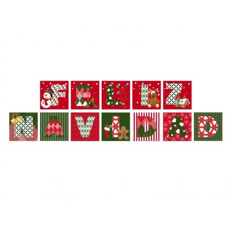 Vinilo Feliz Navidad Patchwork adhesivo decorativo ambiente