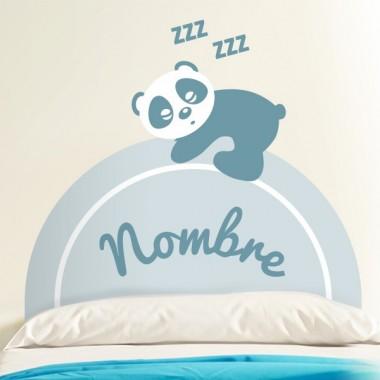 Oso Panda Cabecero Infantil Azul decoración con vinilo