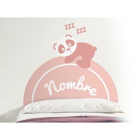 pegatina decorativa Oso Panda cabecero rosa