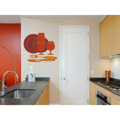 vinilos imagen producto Cubiertos Naranja