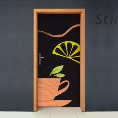 Puerta Tetería imagen vinilo decorativo