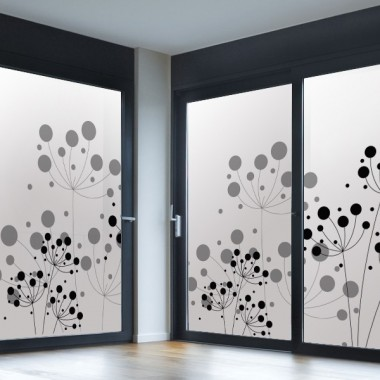 decoración de cristales Vinilo translúcido impreso floral
