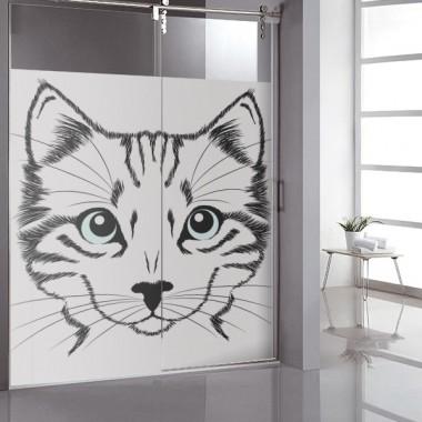 decoración de cristales Vinilo translúcido impreso Miau