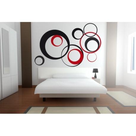 Vintage Circular composición rojo y negro decoración con vinilo